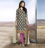 BUY CASUAL WEAR INDIAN SALWAR KAMEEZ ONLINE IN USA BUY  BLACK SEMI CASUAL STRAIGHT CUT SALWAR KAMEEZ & DUPATTA