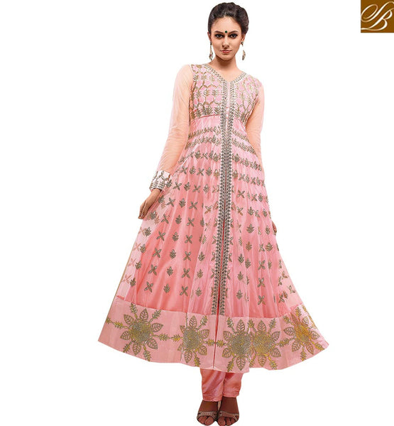 FASHIONABLE PINK PARTY WEAR SALWAAR KAMEEZ RMETH16 BY LIGHT PINK