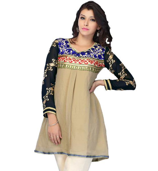 DESIGNER GEORGETTE EMBROIDERED INDIAN LADIES SHORT FANCY KURTIS