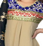 light brown tunic top short length with black sleeve.