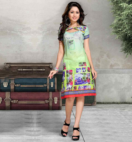 2015 FASHION DIGITAL PRINT COTTON DESIGNER KURTIS SUPERB GREEN EASY AND RELAXED TOP MADE FROM HIGH QUALITY FABRIC AND HAS LOVELY PRINT