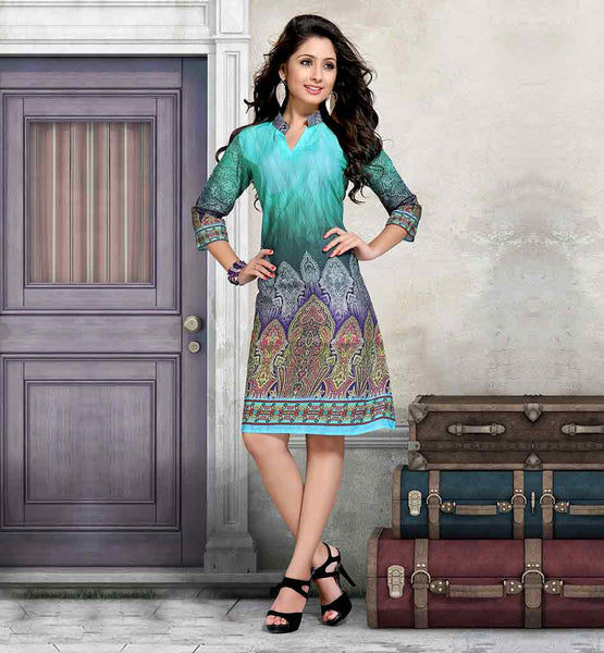 BUY PREMIUM COTTON DESIGNER KURTIS ONLINE INDIA STUNNING SKY-BLUE AND GREEN SHADE RICH PRINT WORK TUNIC FOR MODERN