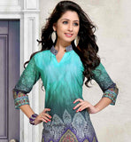 STUNNING SKY-BLUE AND GREEN SHADE RICH PRINT WORK TUNIC FOR MODERN LADY