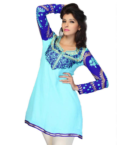BUY NEW PATTERN EMBROIDERED GEORGETTE SHORT LENGTH FASHIONISTA KURTI