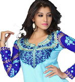 latest fashion light blue kurti with dark blue sleeve