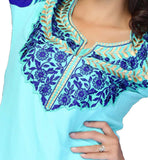 neck design for modern tunic top with rich embroidery