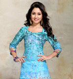 FRESH LOOK SKY BLUE DIGITAL PRINT COTTON TOP WITH EXCITING PASTEL COLOR DESIGN AT LOWER PORTION