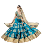 FROM STYLISH BAZAAR CHARMING BLUE GHAGHRA CHOLI TEAMED UP WITH A BEIGE DUPATTA NKGR5045