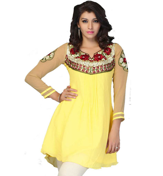 SHORT KURTI RICH FLORAL EMBROIDERY ETHNIC INDIAN DESIGN GEORGETTE
