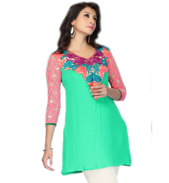 FANCY SHORT INDIAN KURTI RICH NECKLINE EMBROIDERY & CONTRAST SLEEVE