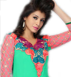 light green kurti heavy embroidery on neck & pink sleeves