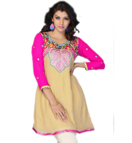 LADIES SHORT TRADITIONAL KURTI HEAVY EMBROIDERY NECK LINE DESIGN