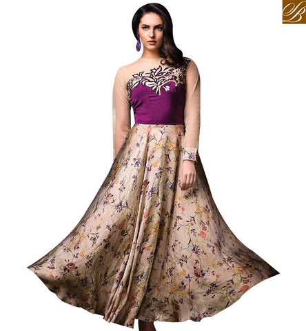 STYLISH BAZAAR BEAUTIFUL BEIGE AND PURPLE DESIGNER SUIT HAVING GOWN STYLE WITH FLORAL PRINT SLISM05