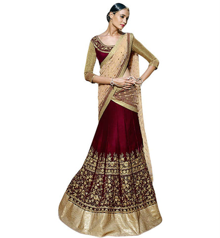 STYLISH BAZAAR DELUXE TRADITIONALLY DESIGNED VELVET LEHENGA SAREE NKGR 5046