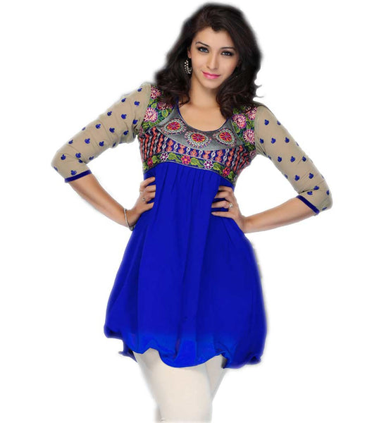 BEAUTIFUL PATTERN SHORT INDIAN GEORGETTE TUNIC TOP STUNNING LOOK