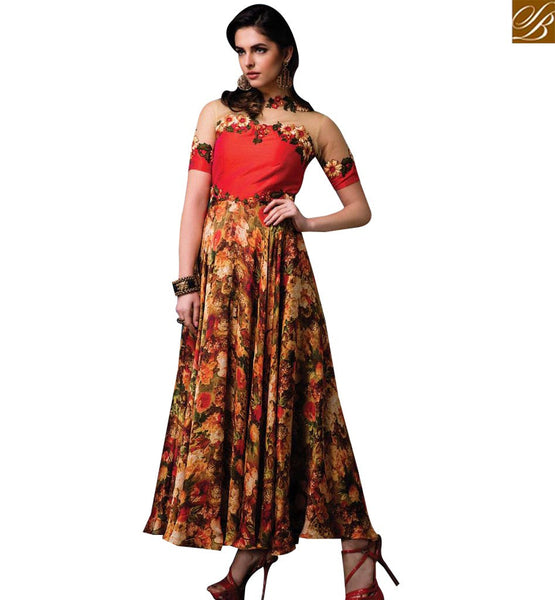 STYLISH BAZAAR WONDERFUL RED NET SILK DESIGNER FLORAL PRINT GOWN STYLE SALWAR KAMEEZ SLISM06