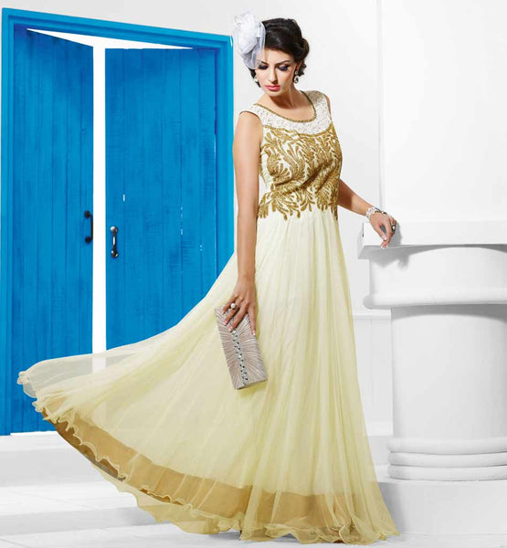 STUNNING OFF-WHITE FLOOR LENGTH EVENING WEAR GOWN FROM STYLISHBAZAAR VDDVN7
