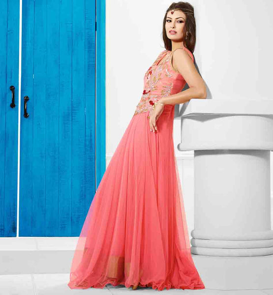 FLOOR LENGTH EVENING WEAR PINK GOWN FROM STYLISH BAZAAR