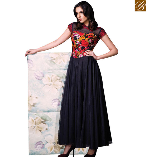 STYLISH BAZAAR DELIGHTFUL BLACK NET SILK DESIGNER SALWAR KAMEEZ HAVING GOWN STYLE SLISM08