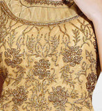 Beige evening gown India, Indian women's evening wear, net material wedding gowns