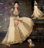 HEAVY DESIGNER GOWN ONLINE SHOPPING IN INDIA  CREAM NET JACQUARD TOP WITH SANTOON INNER ANC COFFEE CHIFFON DUPATTA