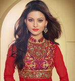 MAJESTIC MAROON GEORGETTE PARTY WEAR DRESS