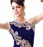 STYLISH BAZAAR 10001 BLUE WEDDING WEAR DRESSES ZOYA EMPRESS VELVET DESIGNER SUITS COLLECTIONS PRIYANKA FASHIONS SURAT