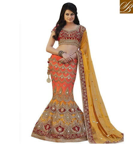 PIC OF INDIAN BRIDAL WEAR LATEST DESIGNER FISH CUT HAND WORK LEHENGA CHOLI IMAGE