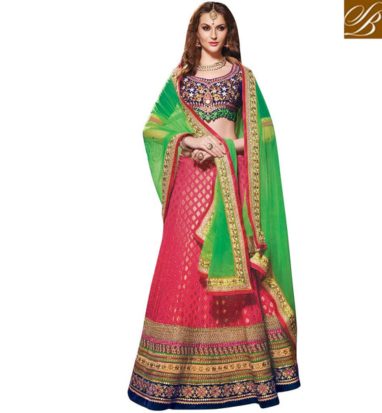 BUY ONLINE WEDDING WEAR 3PC DESIGNER LEHENGA CHOLI BY STYLISH BAZAAR