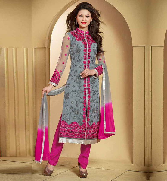 STYLISH BAZAAR NEW PARTY WEAR COLLECTION GREY STRAIGHT SALWAR SUIT
