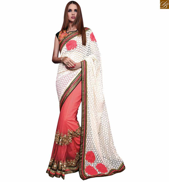 STYLISH BAZAAR BEAUTIFUL PINK AND WHITE SAREE COMBINED TO AN ORANGE AN ORANGE AND BLACK BLOUSE RTROS10002