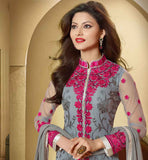 GORGEOUS GREY SALWAR KAMEEZ WITH STUNNING SHADED DUPATTA