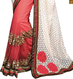 STYLISH BAZAAR PRESENTS BEAUTIFUL PINK AND WHITE SAREE COMBINED TO AN ORANGE AN ORANGE AND BLACK BLOUSE RTROS10002