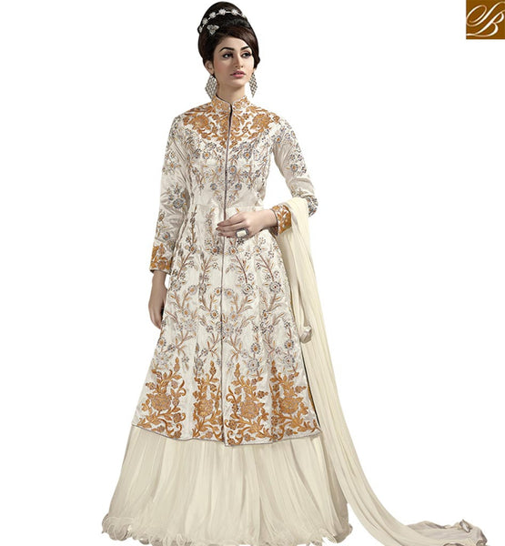 STYLISH BAZAAR BEAUTIFUL WHITE COLORED LEHENGA STYLE SUIT WITH A PRINCESS LOOK SLSAR10002