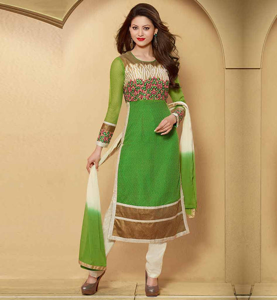 STYLISH BAZAAR TRENDY GREEN PARTY WEAR DRESS WITH SHADED DUPATTA