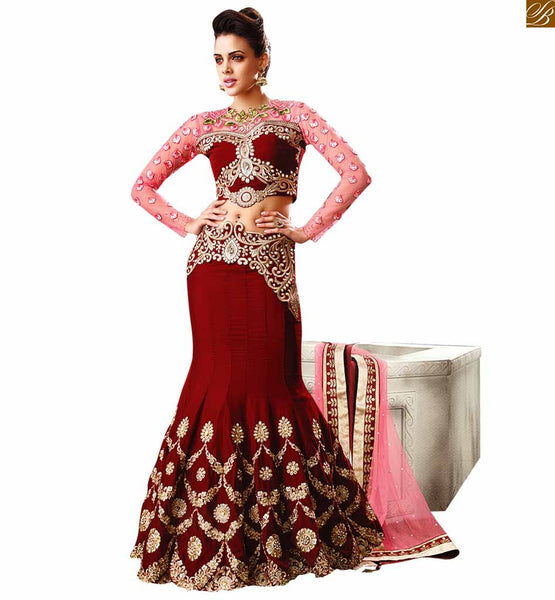 10003 MAROON WEDDING WEAR DRESSES ZOYA EMPRESS VELVET DESIGNER SUITS COLLECTIONS PRIYANKA FASHIONS SURAT STYLISH BAZAAR
