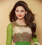 EXCITING GREEN KARACHI STYLE SALWAR SUIT WITH DUAL COLOR ODHNI