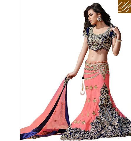 10003 DESIGNER INDIAN FISH CUT BRIDAL LEHENGA CHOLI ONLINE SHOPPING