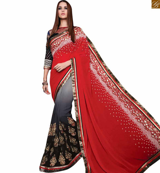 FROM THE HOUSE  OF STYLISH BAZAAR ADORABLE RED, BLACK AND GREY SAREE COUPLED WITH AN ART SILK AND GEORGETTE BLOUSE RTROS10004