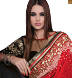 STYLISH BAZAAR  ADORABLE RED, BLACK AND GREY SAREE COUPLED WITH AN ART SILK AND GEORGETTE BLOUSE RTROS10004
