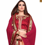 FROM STYLISH BAZAAR ALLURING PINK AND CREAM SAREE ALONG WITH MAROON BLOUSE RTROS10005