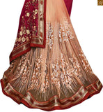 FROM THE HOUSE  OF STYLISH BAZAAR ALLURING PINK AND CREAM SAREE ALONG WITH MAROON BLOUSE RTROS10005
