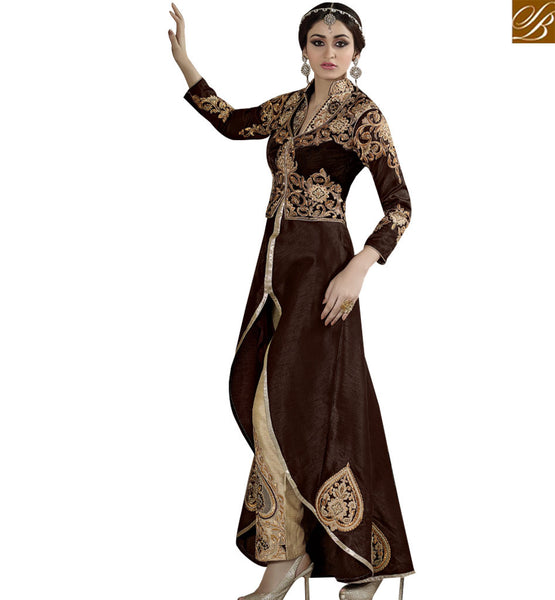 STYLISH BAZAAR ATTRACTIVE BROWN COLORED SUIT WITH SPLENDID EMBROIDERY WORK SLSAR10005