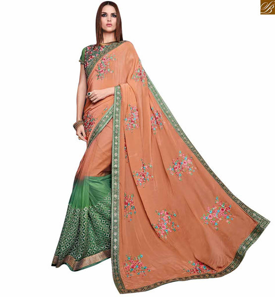 BROUGHT TO YOU BY STYLISH BAZAAR APEALLING ORANGE AND GREEN SARI CONJUGATED TO A GREEN BLOUSE RTROS10006