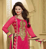 LOVELY PINK GEORGETTE EMBROIDERED PARTY WEAR SALWAR SUIT