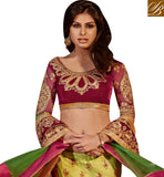 GREEN BRIDAL LENEHGA WITH PINK VELVET CHOLI AND GREEN NET DUPATTA
