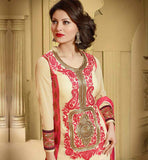 COOL COLOR COMBINATION CREAM KURTI WITH PINK SALWAR & DUPATTA