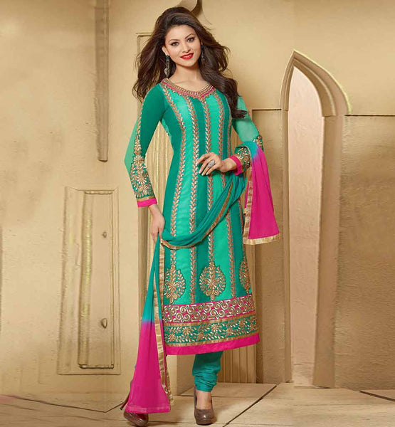 STYLISH BAZAAR GORGEOUS GREEN GEORGETTE DRESS WITH CHIFFON DUPATTA