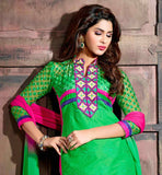 IMPRESSIVE GREEN & PINK SALWAR KAMEEZ & DUPATTA WITH EMBROIDERED NECK