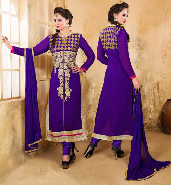 INDIA ONLINE SHOPPING SALWAR KAMIJ AT BEST RATES VDDSY1001 BLUE COLOR STRAGHT CUT PARTY WEAR DRESS COMES WITH MATCHING SALWAR AND DUPATTA